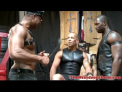 Interracial gay hunks in kinky foursome