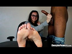 Cumming on Her Oiled Feet