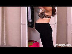 Pregnant Corazon Models Old Clothes Before Masturbating!