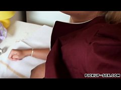 Busty eurobabe pounded for a few bucks