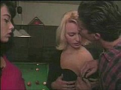 anita blond and dark - on pool table