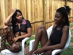 Three african lesbians meet for pussy eating, finger banging and toy fucking