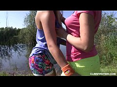HD Lesbian teens pleasing pussies at the lake