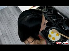 Morning suck in the kitchen with his busty stepmother