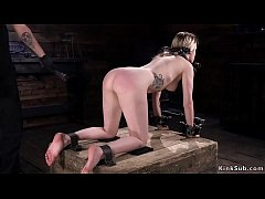 naked blonde slave violet october with locked neck and wrists gets hard whipped