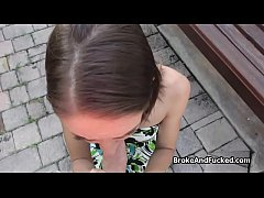Outdoor doggystyle with perfect broke teen babe