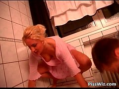 Blonde chick rides dick in the bathroom