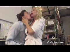 Bigtit MILF boss in stockings blows new employee