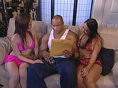 muscle man fucks two hot asian sluts
