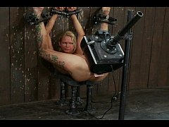 Tied slut destroyed with extreme fuck machine