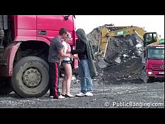 Cute blonde little girl fucked by 2 guys at a public construction site threesome