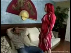 Dirty redhead stepmom seduces stepson to make him leave