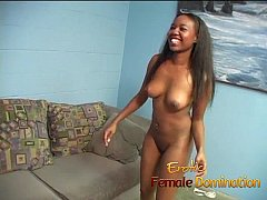 Slutty ebony playgirl sits on a kinky Asian dude's face