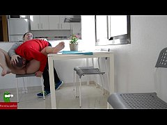 Hot couple fucking in the kitchen while playing...