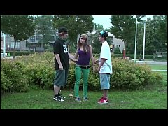 young teen hottie alexis crystal public gang bang threesome with 2 guys