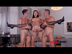 Deepthroating dinner party with Lea Lexis ends in deep double penetration GP668