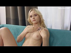 Virgin on casting. She will spread her legs and show her hymen! Unreal cool .. Then she will show how caresses her virgin pussy with a finger.