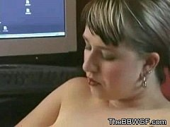 Horny Fat Chubby Ex GF playing with her Big Tits and Hairy Pussy