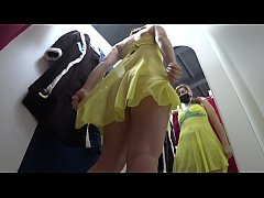 Hidden camera inside the public locker room, naked girl with a juicy ass trying on panties and lingerie.
