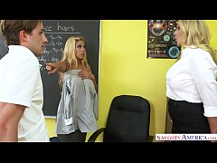 a big tits teacher threesome with julia ann and bridgette b. - naughty america