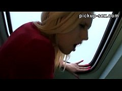 blonde amateur angel reamed and creampie in the train toilet