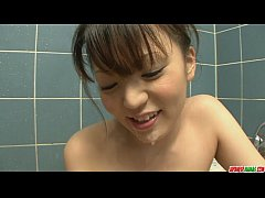 Bathroom blowjob with hand feet and tits fucking from Asuka Ayanami