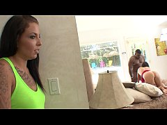 Young brunette babe and salacious housewife India Summers both can't resist power of black gangster