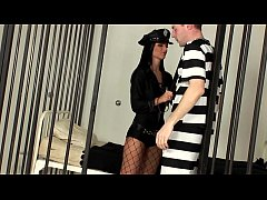 Female cop fucking in a fishnet body stocking