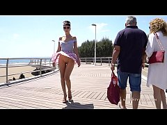 Short skirt and wind. Public flashing...