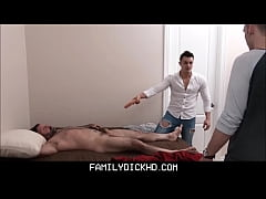 two guys team up on massaging twink