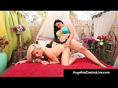 Cuban Queen Angelina Castro StrapOn Fucks Asian Cristi Ann!