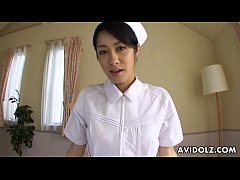 Asian nurse sucking hard on a fat dick pov