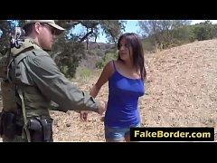 Fake border agent seduces gorgeous civilian girl and nails her pussy