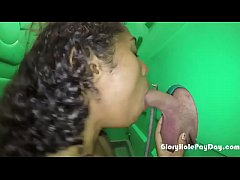 Black girl sucks white dick in porta potty