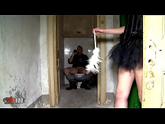 Older homeless punk fucking a very cute slut in a abandonned house