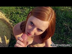 Redhead Linda Sweet banged in open fields for money