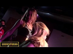 Horny blonde lesbian teens from public licking on stage
