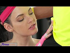 Fitness Rooms Young tight fresh teen has big or...
