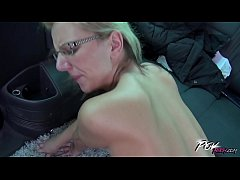 povbitch endless fuck in car with super horny glassed blonde milf