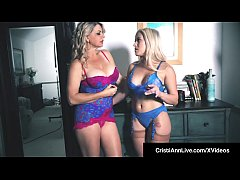 asian latina cristi ann and busty blonde milf vicky vette talk adult business with an interview of cristi but end up hitachi wanding their lovely pussies until they cum for each other