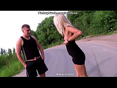 blonde sucking dick in the middle of the road