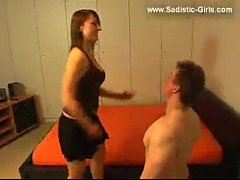 Crazy bitch slapping her idiot slave