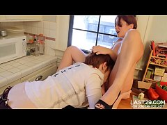 fiesty lesbian hotties finger fuck in the kitchen
