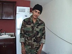 Latino gay Soldier playing with his dick