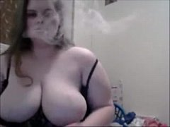 Huge DDD Tits Wife Smokes On Cam And Play With Huges Tits & Nipples
