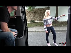 Blonde with one shoe fuck stranger for promise buy new one