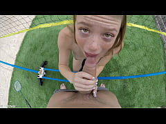 Mia Collins plays some badminton outside before coming in to get fucked and facialed by a big dick.