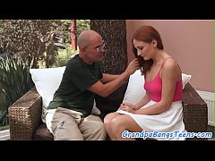 Redhead european teen pounded by grandpa