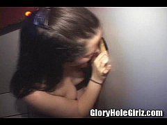 Hailey shows off her blowjob skills at gloryhole