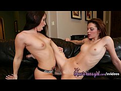 Strap on beautiful lesbians in lingerie love each other